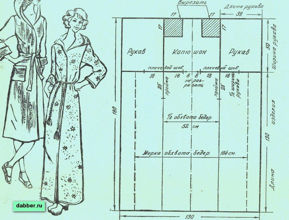 Махровый халат на запах выкройка