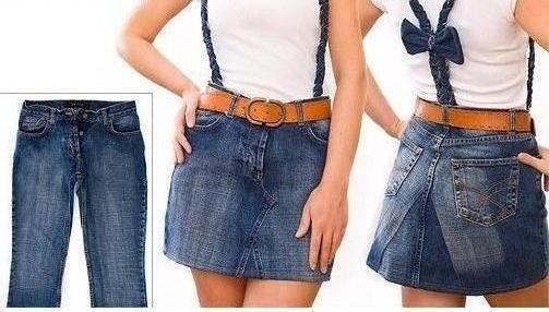 делаем юбку из старых джинс