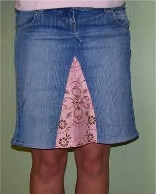 Юбка из старых джинс и со вставкой из ткани