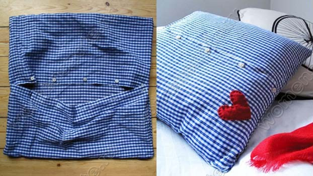 Подушки из мужских рубашек своими руками