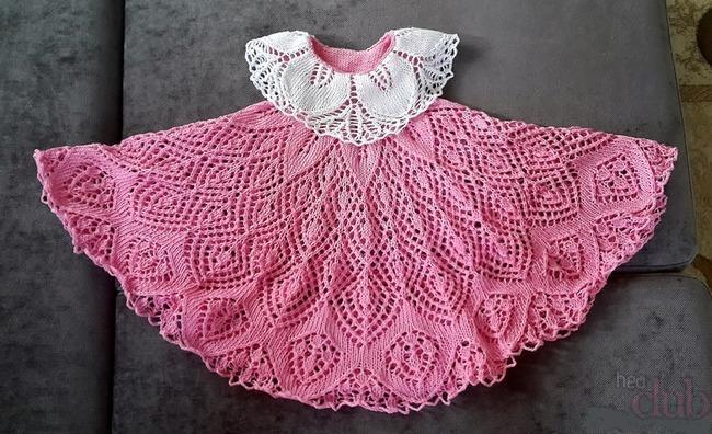Детские ажурные платья спицами