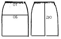 Построение чертежа основы прямой юбки