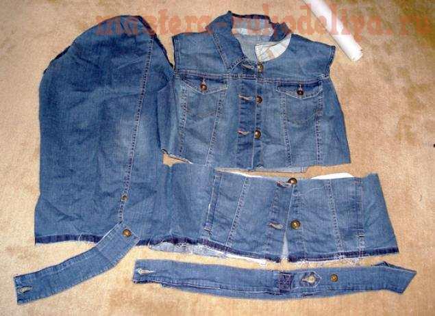 Делаем выкройку для того, чтобы продублировать детали куртки джинсой