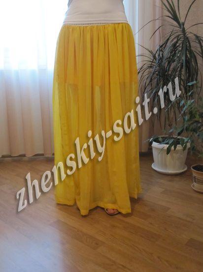 длинная юбка из шифона на резинке