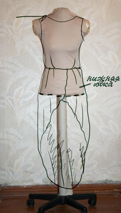 Платье сшить своими руками перед короче зад длиннее