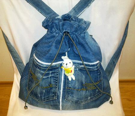 Из старых джинсов  рюкзак