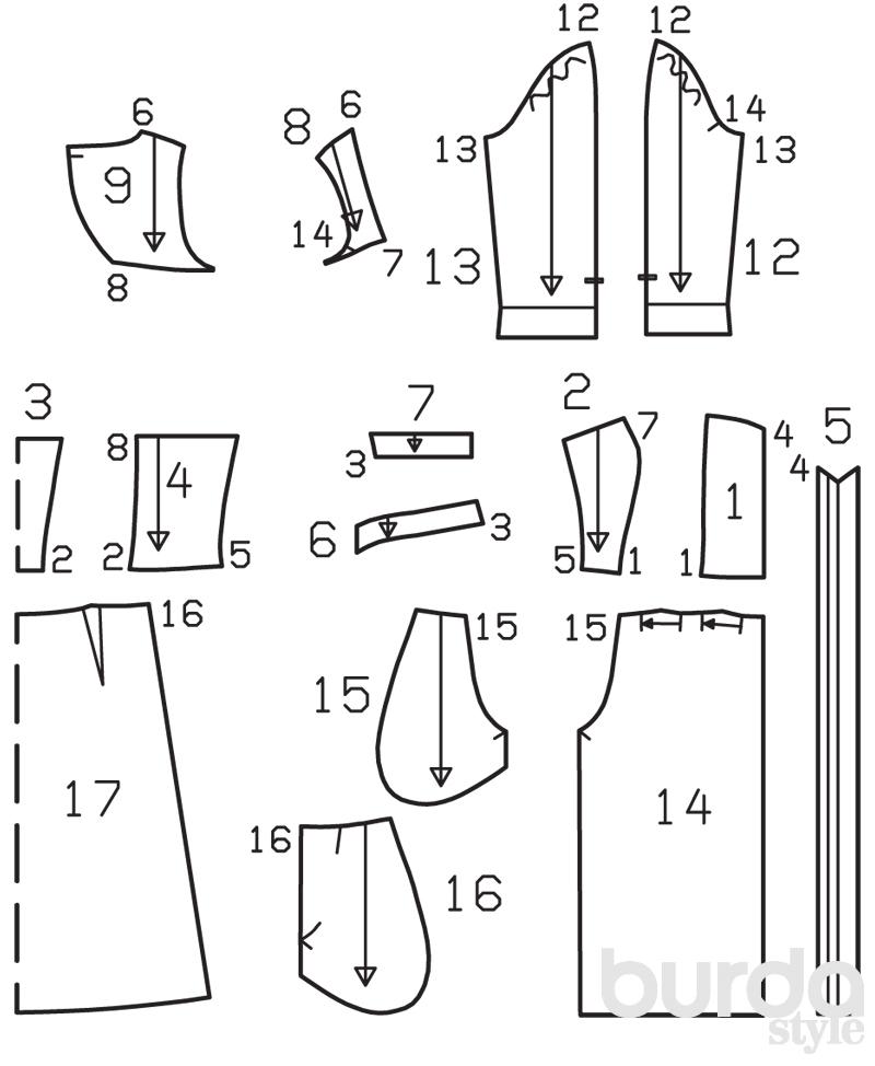 Вырезать выкройку платья
