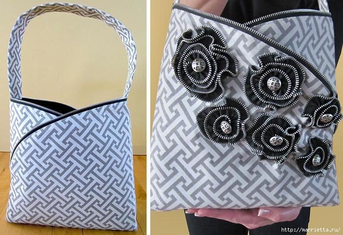 Как сшить стильную сумку с цветами из молний. Мастер-класс (28) (700x480, 293Kb)