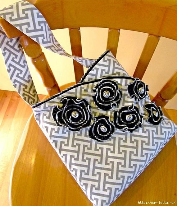 Как сшить стильную сумку с цветами из молний. Мастер-класс (30) (570x662, 281Kb)