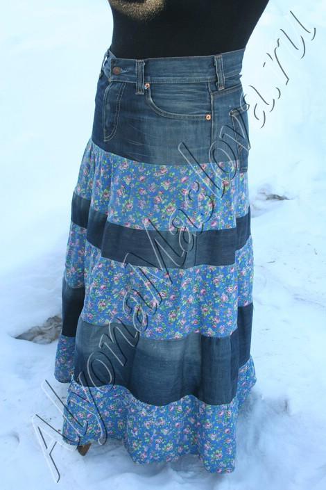 Джинсовая юбка из брюк