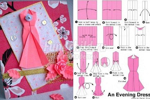 Как сделать открытку платье своими руками