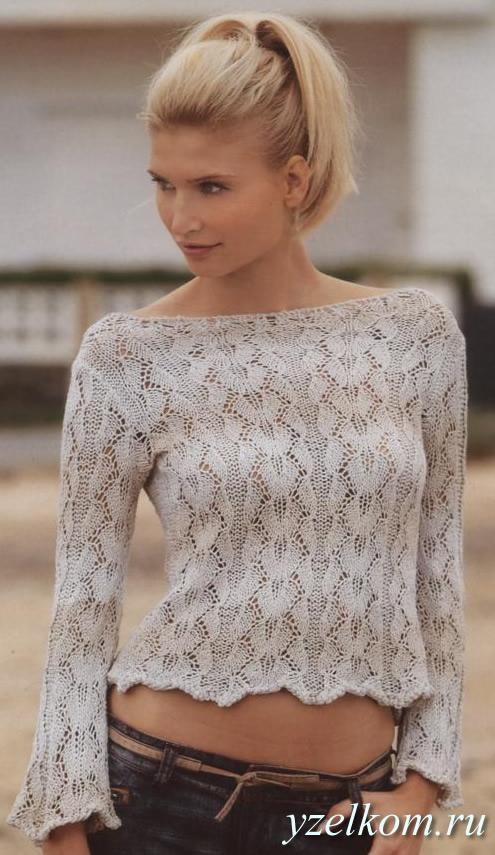 бежевый ажурный пуловер
