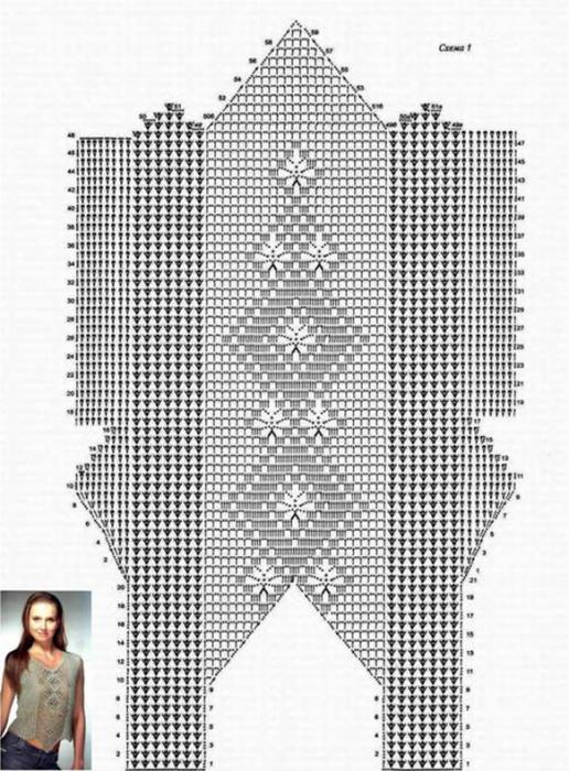Летние кофточки крючком: схемы и описание, филейное вязание кофты-13