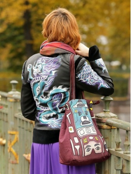6017cb81662 Переделка старой кожаной куртки — мастер класс по росписи акриловыми  красками