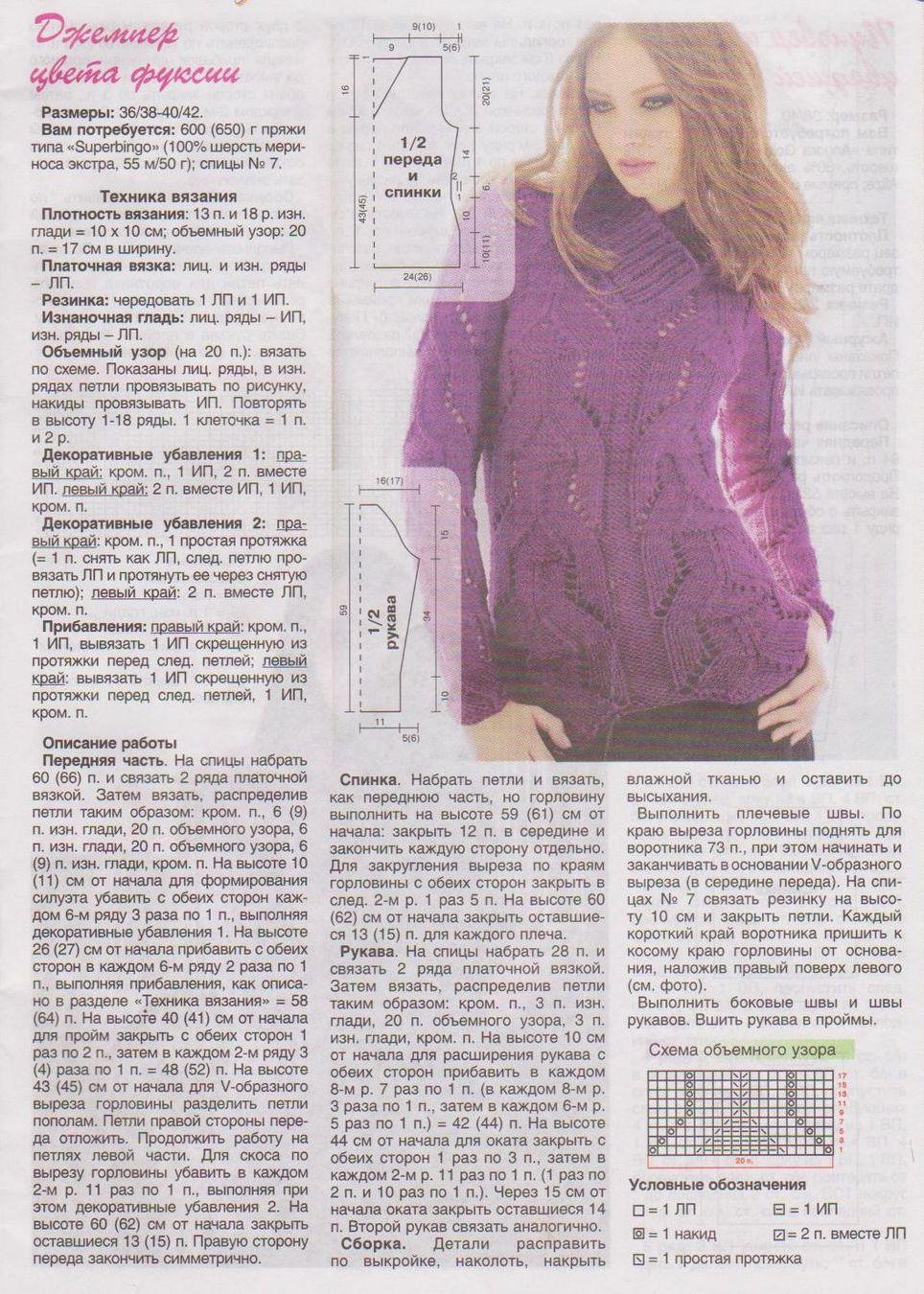 Вязанный свитер с описанием